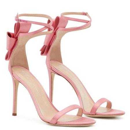 Giuseppe Zanotti Pink Satin Bow Flower Evening Sandals Heels