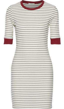 Tralena Striped Ribbed Jersey Mini Dress