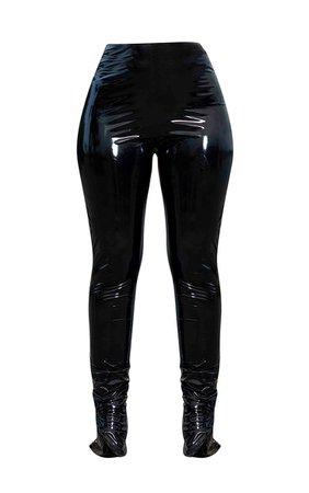 Black Vinyl High Waisted Leggings | Trousers | PrettyLittleThing USA