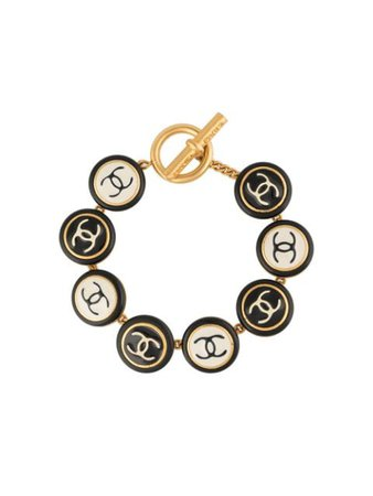 Shop gold Chanel Pre-Owned 1995 CC bracelet with Express Delivery - Farfetch