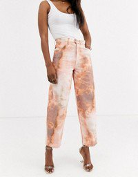 ASOS DESIGN Petite Carpenter boyfriend jeans in pastel tie dye | ASOS