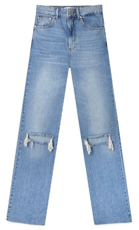 Pale denim Ripped straight jeans - Women's Just in | Stradivarius United States
