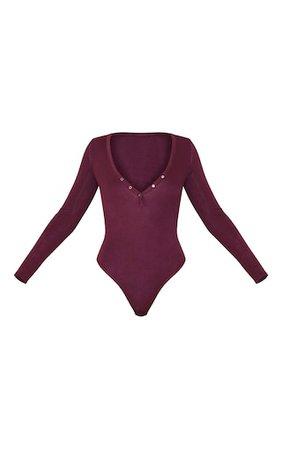 Burgundy Long Sleeve Popper Detail Thong Bodysuit | PrettyLittleThing USA
