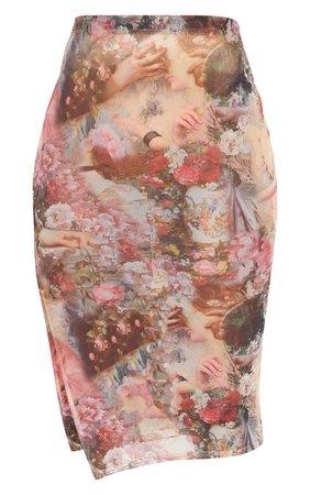 Rose Renaissance Print Mesh Midi Skirt | PrettyLittleThing USA