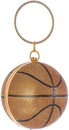 Rhinestone Basketball Evening Bag, Round Glitter Clutch, Bling Party HandBags, Sport Style Purse: Handbags: Amazon.com