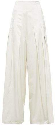 Pleated Twill Wide-leg Pants