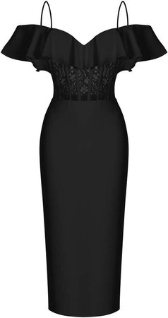 Off-The-Shoulder Crepe And Lace Corset Midi Dress