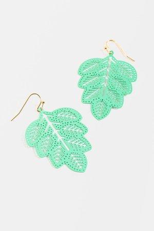 Jade Mint Leaf Earrings | francesca's