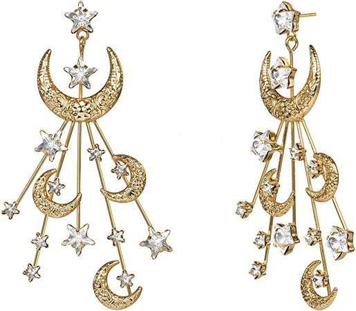 Amazon.com: Star Moon Earrings Made with Swarovski Crystal Gold Plated Crescent Moon Stars Drop Dangle Valentine's Day Mother's Day Couples Special Gifts Mom Gold Moon Earrings for Women: Clothing