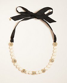 Pearlized Ribbon Necklace | Ann Taylor
