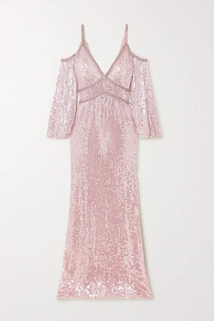 Lea Cold-shoulder Crystal-embellished Sequined Tulle Gown - Pastel pink