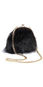 FHQHTH Faux Fur Purse Fuzzy Handbags for Women Evening Handbags Al alloy Shoulder Strap [Black]: Handbags: Amazon.com