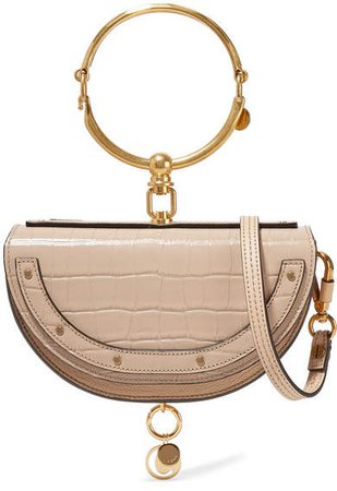 Nile Bracelet Mini Croc-effect And Textured-leather Shoulder Bag - Beige