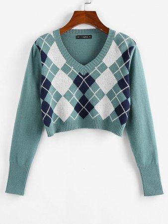 [51% OFF] 2020 ZAFUL Argyle V Neck Crop Sweater In LIGHT GREEN | ZAFUL