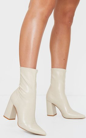 Nude PU Sock Boots   PrettyLittleThing