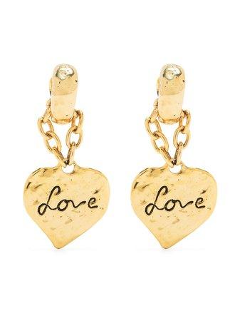 Saint Laurent Love Heart Chain Drop Earrings - Farfetch