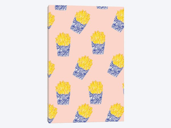 Floral Fries Canvas Print by Bouffants & Broken Hearts | iCanvas