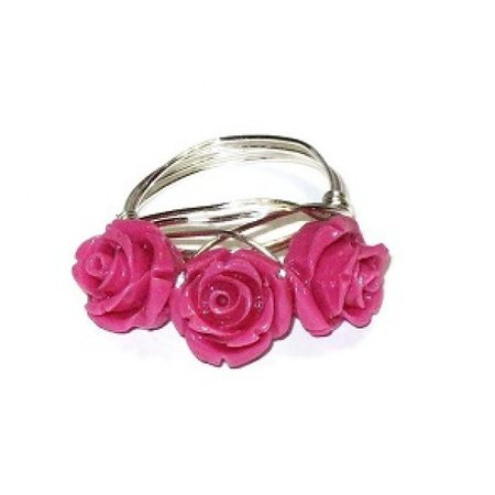 Hot Pink Three Flower Ring