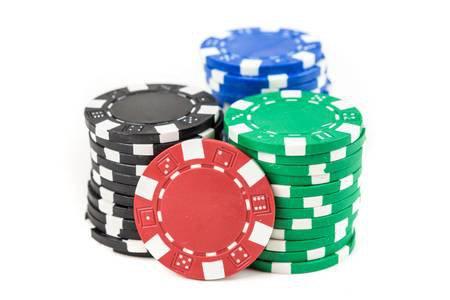 Stacks Of Poker Chips On White Background