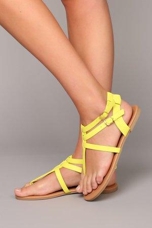 Baylee Flat Sandal - Yellow