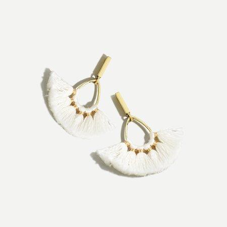 J.Crew: Tassel Fan Earrings For Women white