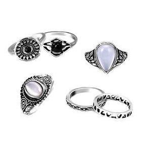 PIXNOR 6pcs Women Men Ring Set Gothic Punk Antique Silver