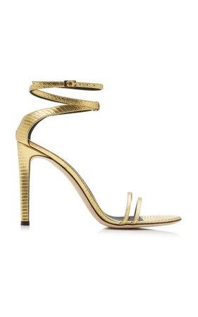 Catia Lizard-Effect Leather Sandals By Giuseppe Zanotti   Moda Operandi