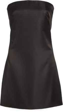Brandon Maxwell Strapless Silk Mini Dress