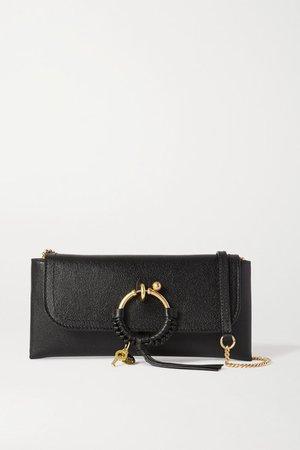 Joan Textured-leather Shoulder Bag - Black