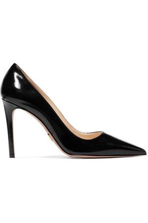 Prada | 100 glossed textured-leather pumps | NET-A-PORTER.COM