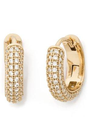 kate spade new york brilliant statements pavé mini huggie hoop earrings | Nordstrom