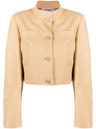Chanel Pre-Owned 2001 Cropped Leather Jacket Vintage | Farfetch.com