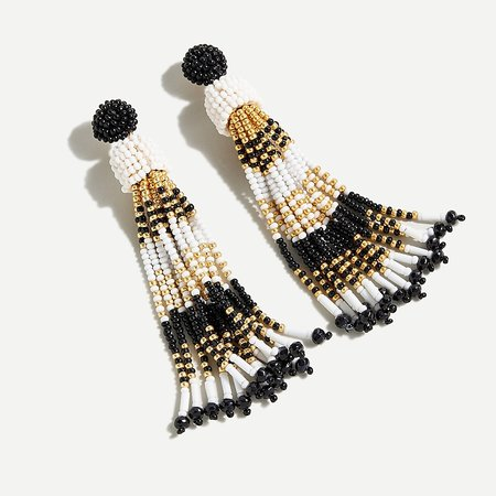 J.Crew: Beaded Tassel Statement Earrings For Women