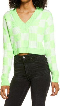 Check V-Neck Crop Sweater