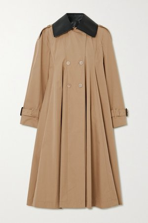 Leather-trimmed Pleated Cotton-canvas Trench Coat - Beige