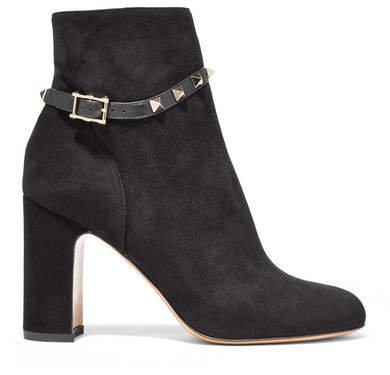 Garavani The Rockstud Leather-trimmed Suede Ankle Boots - Black