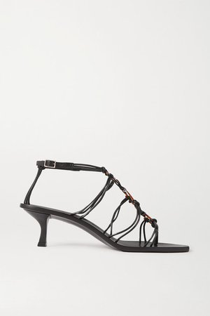 Ziba Embellished Leather Sandals - Black