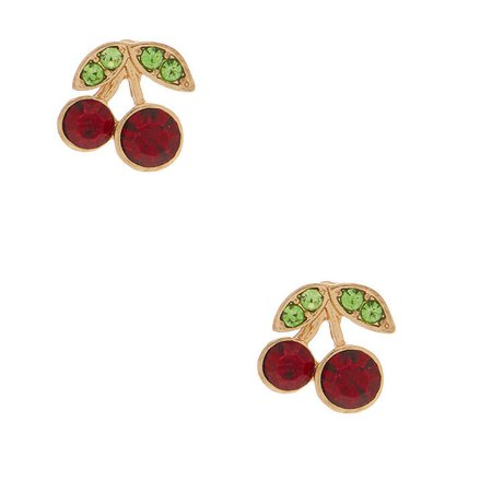 Gold Cherry Stud Earrings | Claire's US