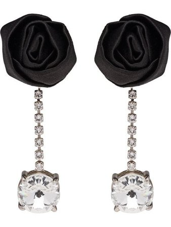 Miu Miu crystal and rose embellished earrings