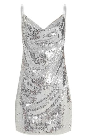 Silver Sequin Chain Bodycon Dress | Dresses | PrettyLittleThing USA