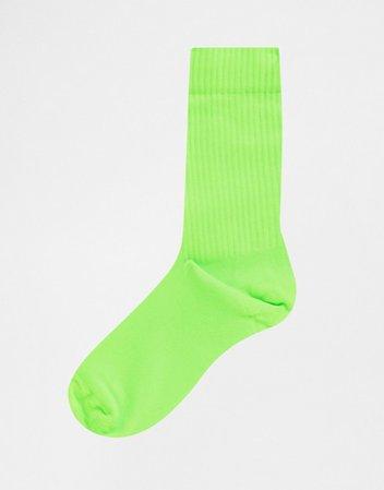 ASOS DESIGN sport socks in neon green   ASOS