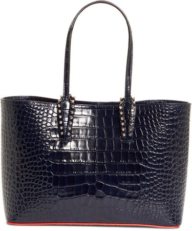 Small Cabata Croc Embossed Leather Tote