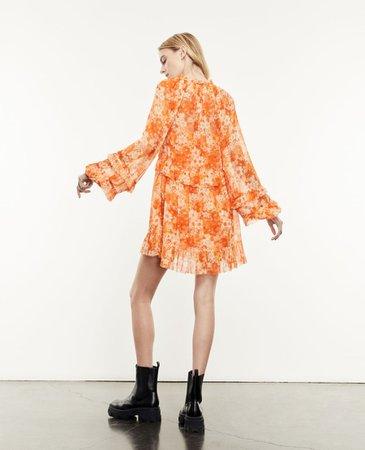 Orange floral printed short dress   The Kooples