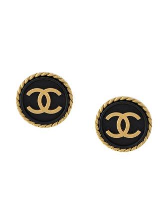 Chanel Pre-Owned Pendientes De Botón Con Logo CC 1995 - Farfetch