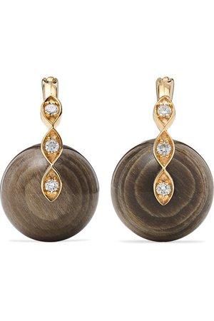 Sydney Evan   14-karat gold, diamond and wood earrings   NET-A-PORTER.COM