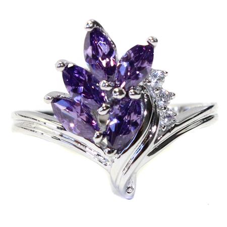 Dark Purple Flower Ring