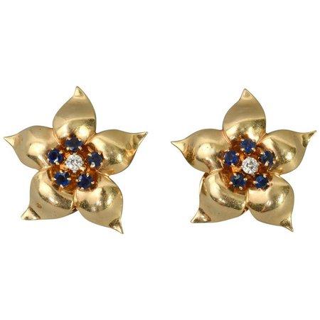 retro Star Flower sapphire and diamond earrings