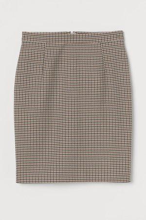 Short Pencil Skirt - Beige