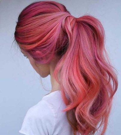 pink hair ponytail