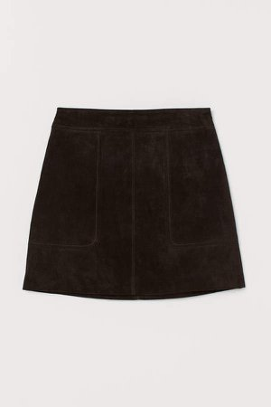 Short Suede Skirt - Brown